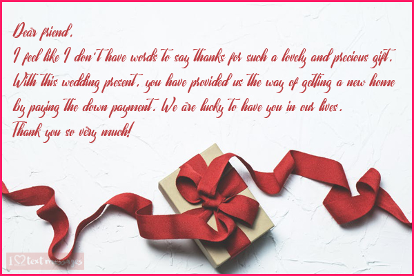 Perfect Thank You Messages for a Gift Received on Your Wedding Day